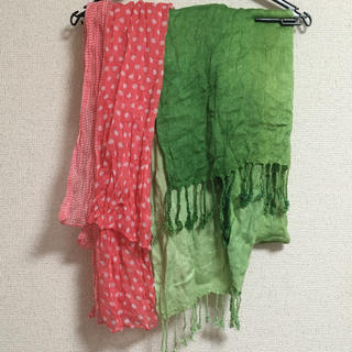 しまむら - ストール 2枚セット ピンク 黄緑 グリーン マフラー