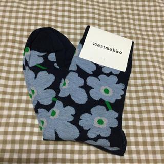 marimekko - サイズ37-39*マリメッコ☆ウニッコ靴下*紺×青 限定色