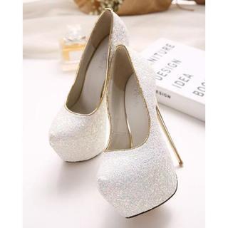 白 ヒール16㎝ キャバ嬢 パーティーシューズ 靴 結婚式 ピンヒール (ハイヒール/パンプス)