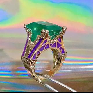 新品 ビッグ ストーン 翡翠風 グリーン×パープル シルバー リング 指輪(リング(指輪))