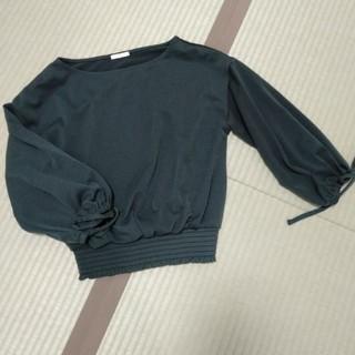 ジーユー(GU)のGU 5部丈グリーンカットソー(カットソー(半袖/袖なし))