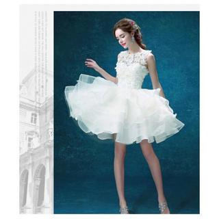 結婚式 二次会 ミニドレス パーティードレス 白 ドレス(ミニドレス)