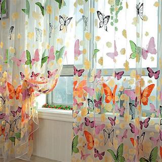 【新品】花柄レースカーテン 2枚セット