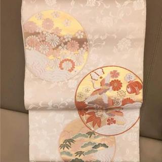 ニシジン(西陣)の白地 未使用 袋帯 西陣織 古典柄 皿絵 正絹(帯)