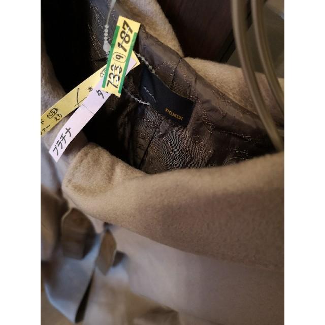 FENDI(フェンディ)のFENDI カシミア100% グレージュコート40 レザーベルト 裾二重 レディースのジャケット/アウター(ロングコート)の商品写真