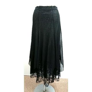裾レース裏地ラメ入りロングスカート(ロングスカート)