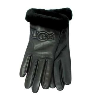 アグ(UGG)の【S】UGG アグ/レザー手袋/CLASSIC LEATHER LOGO/黒(手袋)