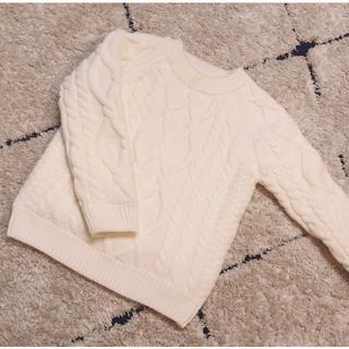 プティマイン(petit main)の韓国子供服♡リバーシブルケーブルニット110(ニット)
