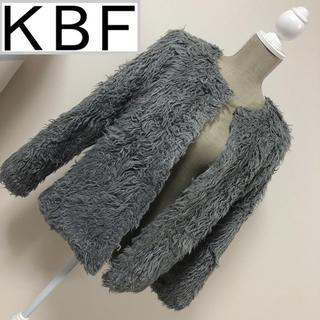 ケービーエフ(KBF)のKBF+ フェイクファーコート グレー(毛皮/ファーコート)