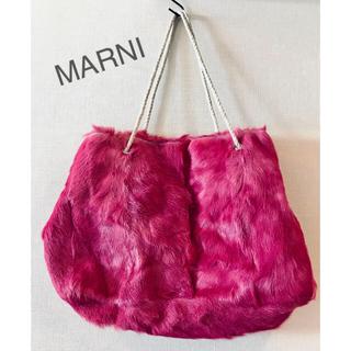 マルニ(Marni)のレア!1回のみ使用  MARNI リアルファー バッグ  濃ピンク マルニ(ハンドバッグ)