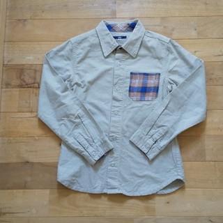 SHIPS - SHIPS  ポケットのチェックがかわいいベージュシャツ  サイズS(145)
