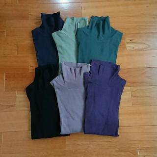 プチバトー(PETIT BATEAU)のプチバトー  タートルネックTシャツ くすんだ薄緑  16ans(カットソー(長袖/七分))