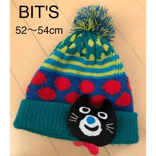 ビッツ(Bit'z)のBIT'S ビッツ ニット帽 ネコ 52〜54cm グリーン 男の子 女の子(帽子)
