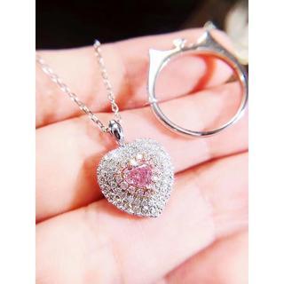GIA鑑定付きハートのピンクダイヤモンドリングネックレス両用(リング(指輪))