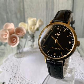 ete - 【電池交換済み】ete エテ 腕時計 ボーイフレンド 4石 ブラック