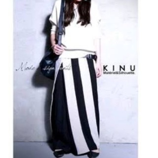 antiqua - アンティカ KINU スカート見えストライプ柄ワイドパンツ カフェパンツ