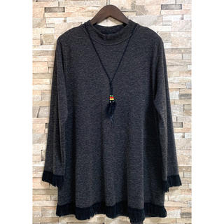 大きいサイズ 裾 袖 フリンジ ストレッチ カットソー チュニック 3L 位(チュニック)