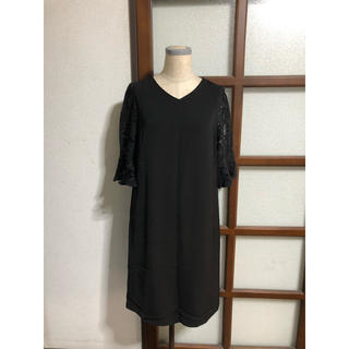 ティティベイト(titivate)の袖レースワンピース/Black(ひざ丈ワンピース)