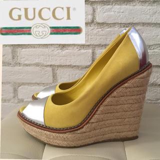 グッチ(Gucci)のGUCCI グッチ パンプス サンダル ウェッジソール 黄色 イエロー 37(ハイヒール/パンプス)