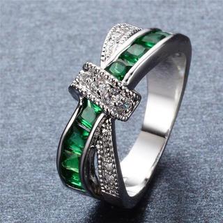特価!エレガントなグリーンクリスタルのステンレスリング 10、11号相当(リング(指輪))
