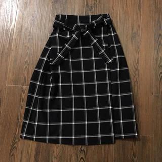 ハニーズ(HONEYS)のネイビー チェック ラップスカート(ひざ丈スカート)