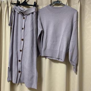 ナチュラルクチュール(natural couture)のnatural couture セットアップ ニット&スカート パープル(セット/コーデ)