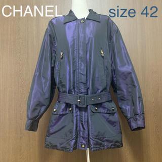 CHANEL - 【美品】CHANEL シルクハーフコート42 紺