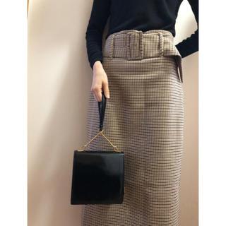 ギンザカネマツ(GINZA Kanematsu)のバック 鞄 スクエア 四角 ニュアンス 可愛い ブラック 黒(ハンドバッグ)