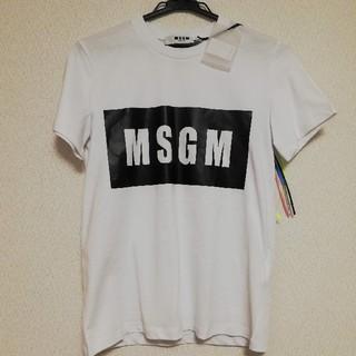 エムエスジイエム(MSGM)のタグ付き 正規品 MSGM Tシャツ レディース 白 ボックス ロゴ(Tシャツ(半袖/袖なし))