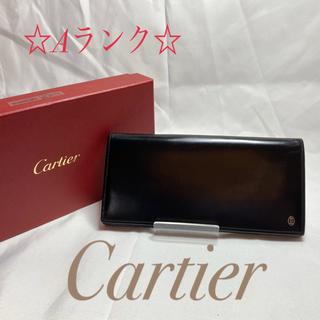 カルティエ(Cartier)の Cartier カルティエ エナメル 二つ折り長財布 ブラック [鑑定済]  (長財布)