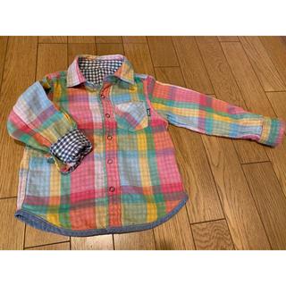 エーアーベー(eaB)のeab エーアーベー 長袖 リバーシブル  チェック シャツ 100(Tシャツ/カットソー)