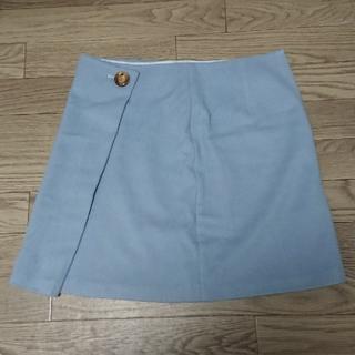 ストラ(Stola.)のスカート 膝上 水色 サイズ40 冬服 ウール素材 イタリア製(ひざ丈スカート)