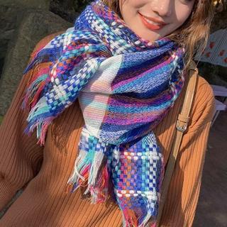 """カシミア100%英国""""New20☆新作Fabric織編""""tricolore白藍青(マフラー/ショール)"""