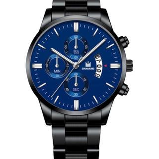 男性ステンレススチール時計日付カレンダークォーツ腕時計ビジネスカジュアル(腕時計(デジタル))