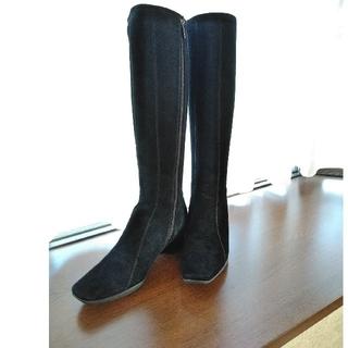 ヨシノヤ(吉野家)の銀座YOSHINOYA スエードブーツ    ロングブーツ 皮革  黒 (ブーツ)