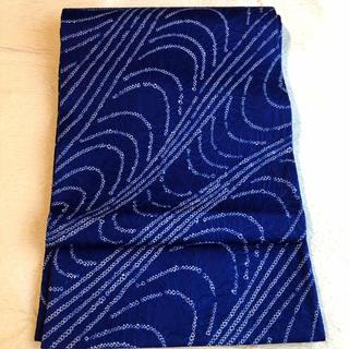 新品 高級化繊 名古屋帯 極美品 絞り流水模様 紬 小紋 色無地 ネイビー(帯)