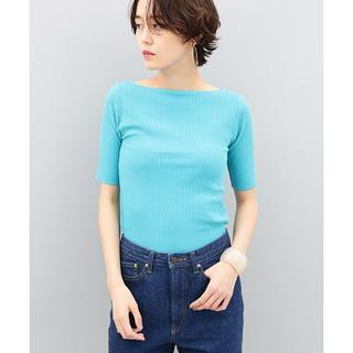 アダムエロぺ(Adam et Rope')のADAM ET ROPE' プリーツリブ5分袖プルオーバー ターコイズブルー(Tシャツ(半袖/袖なし))