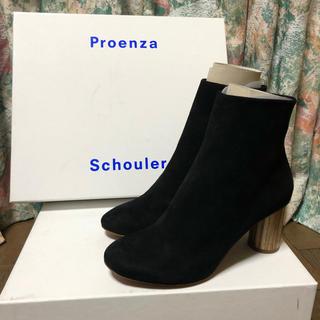 プロエンザスクーラー(Proenza Schouler)の新品 未使用 プロエンザスクーラー ブーツ ウッド 木 チャンキー ヒール 黒(ブーツ)
