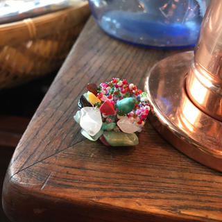 アジアン マルチカラー ビーズ 天然石 リング フリーサイズ ローズクォーツ(リング(指輪))