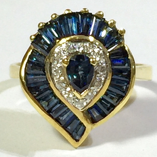 サファイヤ×ダイヤモンド 18金 リング 指輪(リング(指輪))