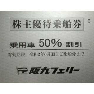 阪九フェリー株主優待乗船券 乗用車50%割引