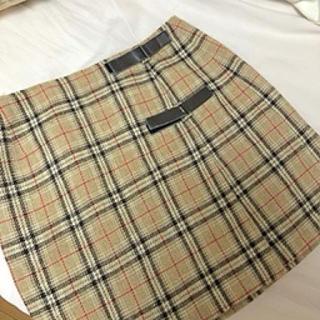 dholic - バーバリー風チェック台形スカート
