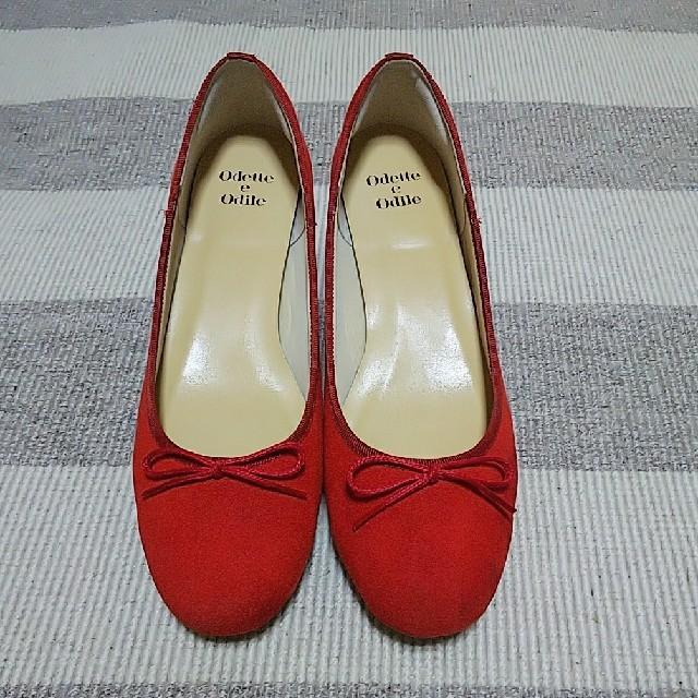 Odette e Odile(オデットエオディール)のオデットエオディール 赤 パンプス 25cm レディースの靴/シューズ(ハイヒール/パンプス)の商品写真