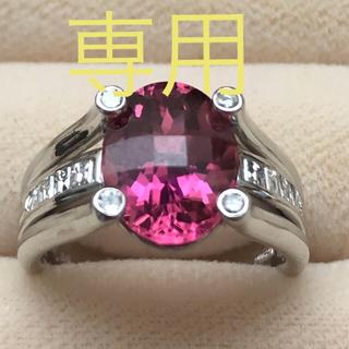 PT900 天然ピンクトルマリン 天然ダイヤモンド リング(リング(指輪))