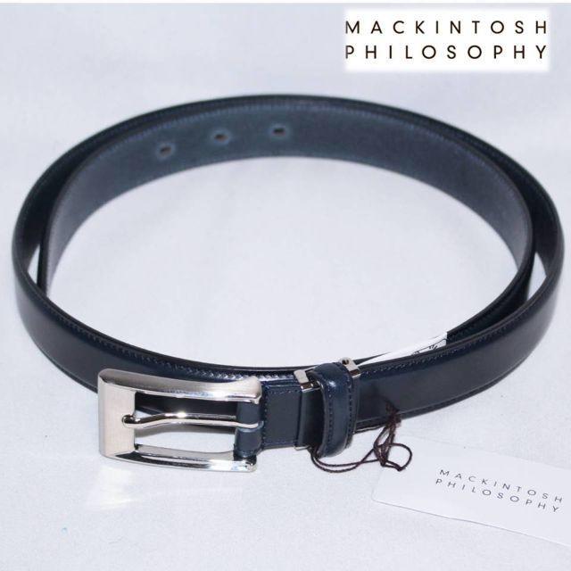 MACKINTOSH PHILOSOPHY(マッキントッシュフィロソフィー)の《マッキントッシュ》新品 本革 レザーベルト イタリア製素材使用 紺 長さ調整可 メンズのファッション小物(ベルト)の商品写真