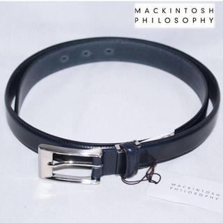 マッキントッシュフィロソフィー(MACKINTOSH PHILOSOPHY)の《マッキントッシュ》新品 本革 レザーベルト イタリア製素材使用 紺 長さ調整可(ベルト)