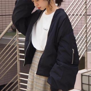 heather - ボリューム袖ビッグMA-1/ブラック/tiptop