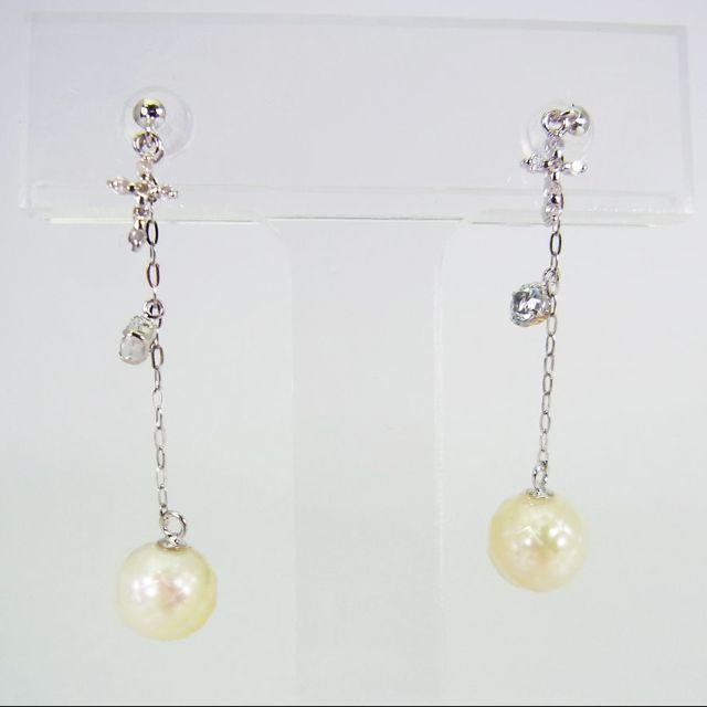 K14WG アコヤ真珠 華パール ダイヤモンド ピアス[g135-5]  レディースのアクセサリー(ネックレス)の商品写真