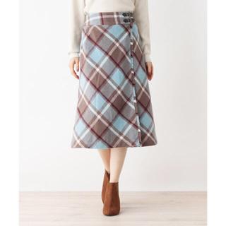グローブ(grove)のgrove 新品 タグ付き ベルトタブ付きラップ風フリンジスカート Mサイズ(ひざ丈スカート)