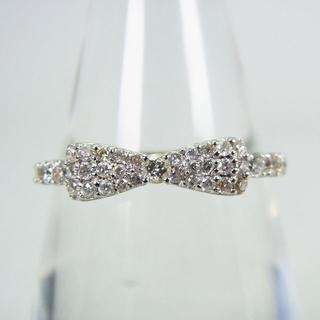 K18WG ダイヤモンド リボン リング 12号 [g135-6](リング(指輪))